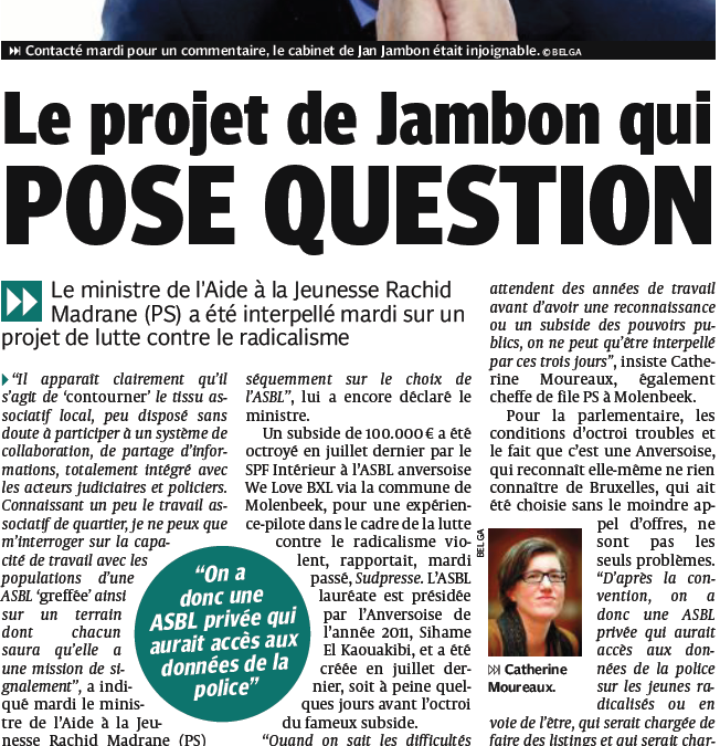 Molenbeek: Le projet radicalisme de Jambon qui pose question!